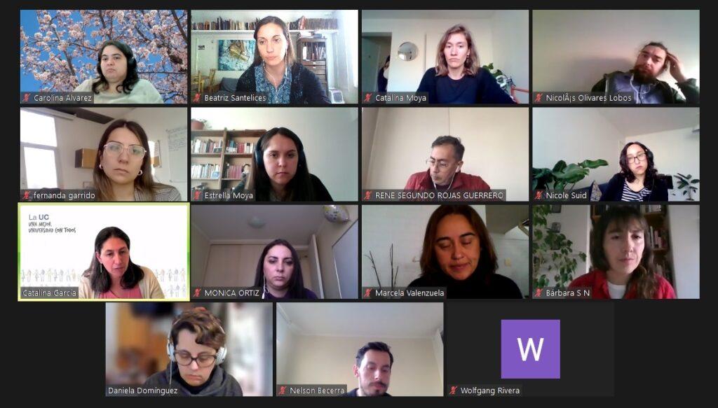 Fotos faciales de profesionales, profesores y profesoras que componen el Comité de Nivelación Académica UC 2021