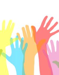 manos de diversos colores como rojo, azul, naranaja, morado.
