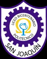 Logo (insignia) del Liceo Bicentenario Politécnico San Joaquín. Es un escudo con símbolos en color morado, amarillo y celeste con el nombre del liceo dentro. Ese es uno de los liceos que acompaña el PACE UC.