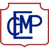 Logo del Complejo Educacional Marcela Paz compuesto por las iniciales del nombre del liceo en letras mayúsculas de color azul, y un borde de insignia de color rojo. Este es uno de los liceos que acompaña el PACE UC.