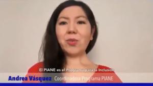 Imagen de Andrea Vásquez, coordinadora de PIANE, presentando apoyos.
