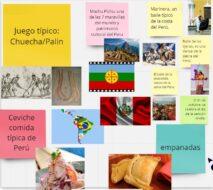 Collage con distintos elementos de culturas de otros países de Latinoamérica y de pueblos originarios de Chile. Por ejemplo, Machu pichu una de las 7 maravillas del mundo, Marinera un baile típico de Perú, juego típico la chueca o el palin, entre otros.