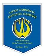 """Logo del Liceo Cardenal Antonio Samoré, con el nombre del liceo, y """"Enseñanza básica y Media Técnico Profesional"""" escrito en él. Este es uno de los liceos que acompaña el PACE UC."""