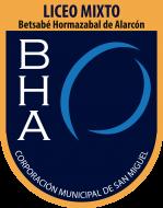 """Logo del Liceo Betsabé Hormazábal Alarcón, con el nombre del establecimiento, las iniciales en letras mayúsculas, """"Corporación municipal de san miguel, y un símbolo. Este es uno de los liceos que acompaña el PACE UC."""