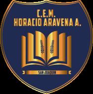 Logo del Liceo Horacio Aravena Andaúr, con el nombre del liceo, la comuna y un símbolo representativo. Este es uno de los liceos que acompaña el PACE UC.